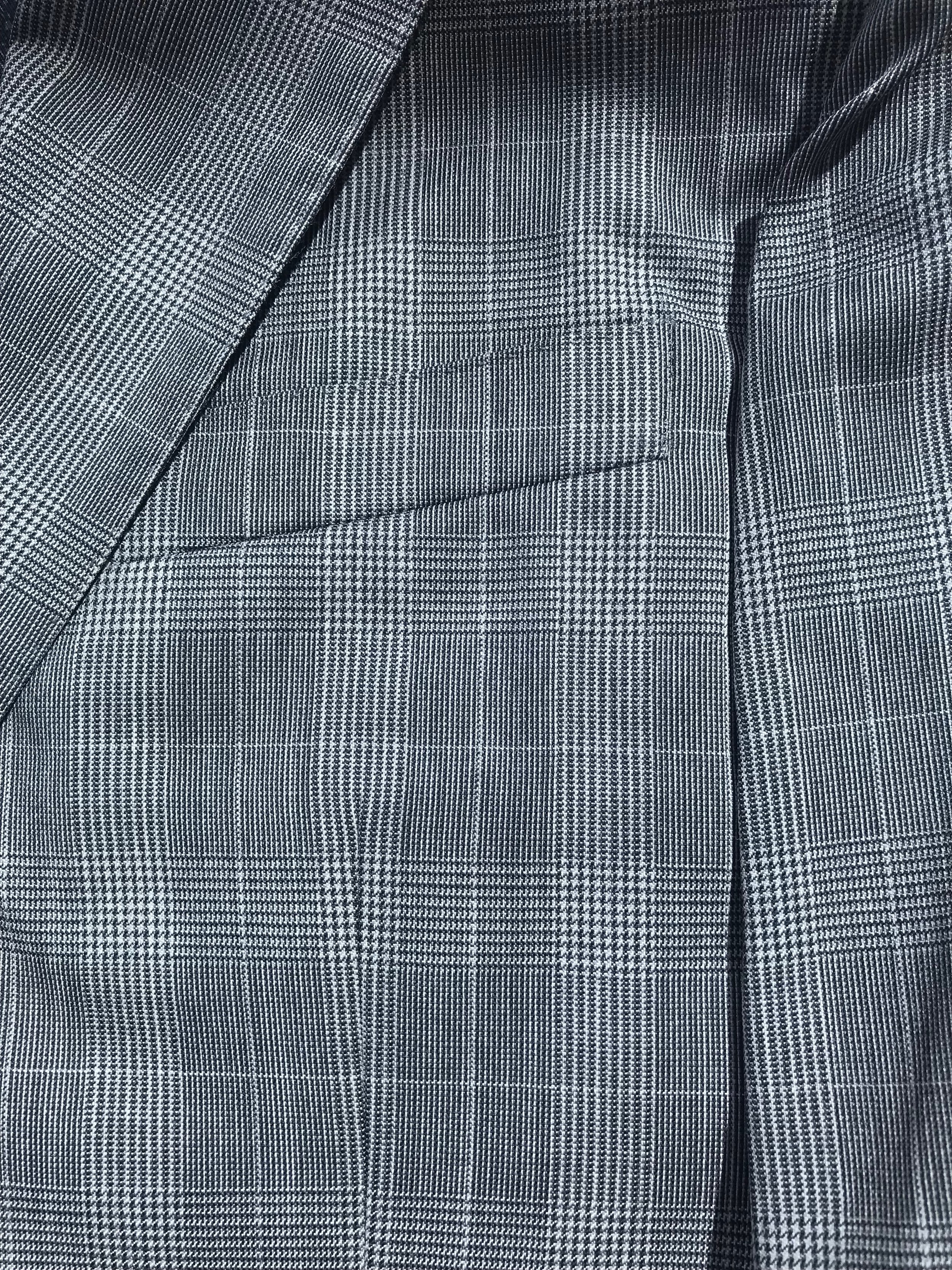 Prince of Wales Glen Plaid: Note how patterns match at welt pocket (vertical), chest to sleeve (horizontal), and lapel to chest (diagonal)