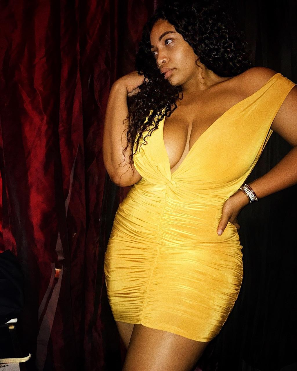 Fashion Nova Metropolitan Night Dress - Mustard Candice Kelly