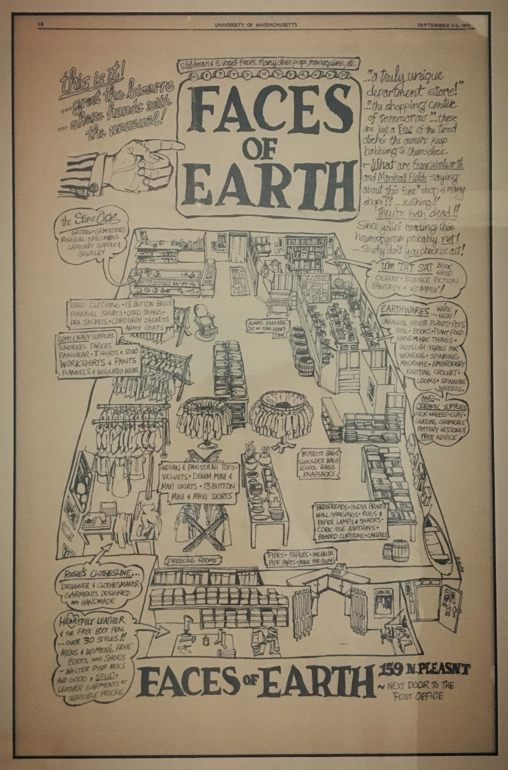 Promotional drawing of the original Faces of Earth in Amherst, Massachusetts, September 5, 1972 UMASS Daily Collegian