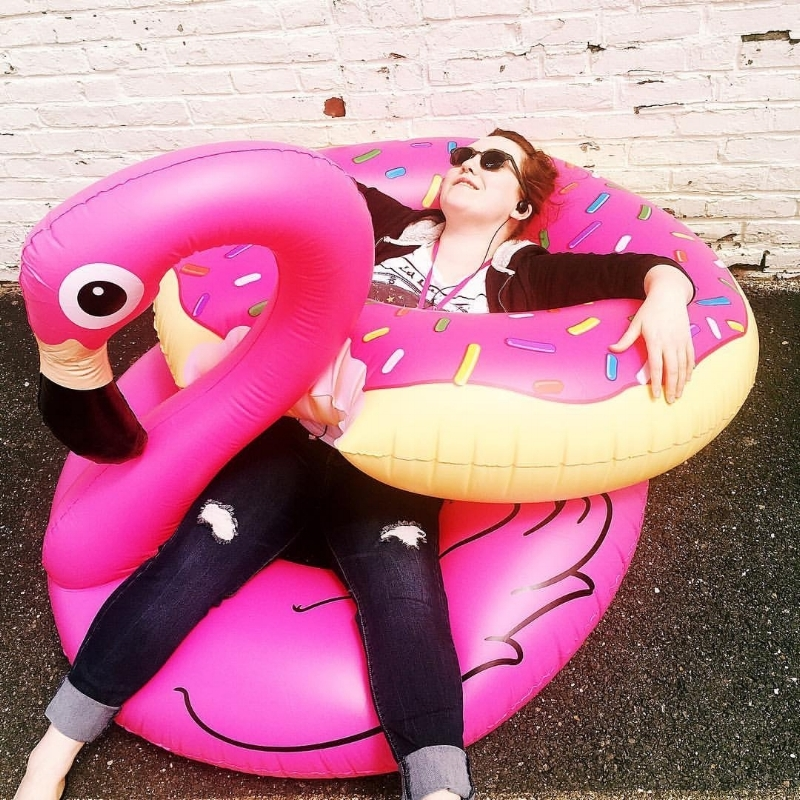 Flamingo and donut pool floats