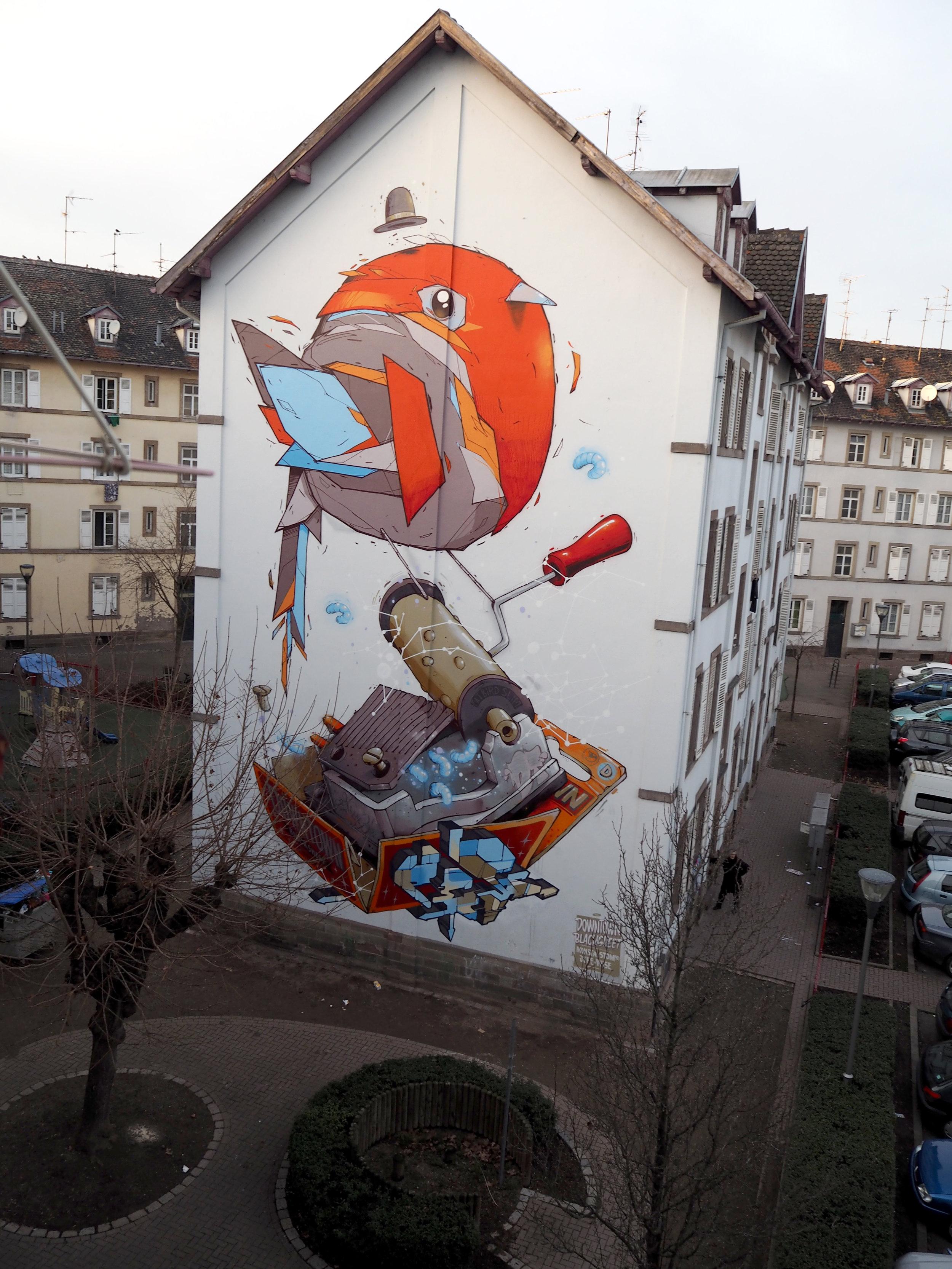 Strasbourg - Cours de Mutzig - Oiseau (Monsta) Boîte à musique (Stom500) Lettres (Jupe x Wise) - 2015