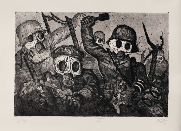 Stormtroops advancing under a gas attack 1924, of the British Museum