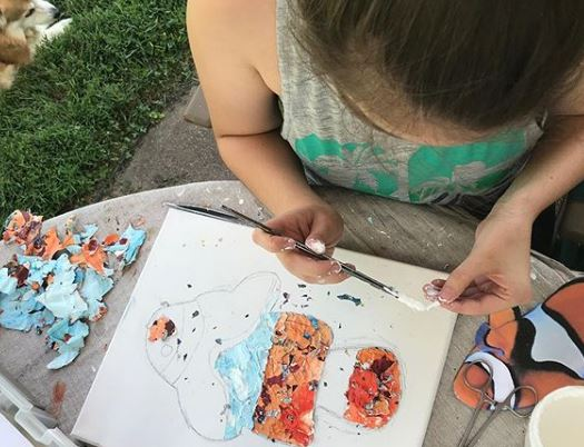 Brittany working on a clown fish