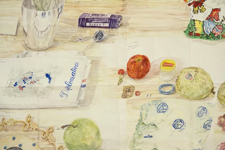 Dawn Clements,  Table (MacDowell) , (detail,) 2015, watercolor on paper, 81x 99 inches.