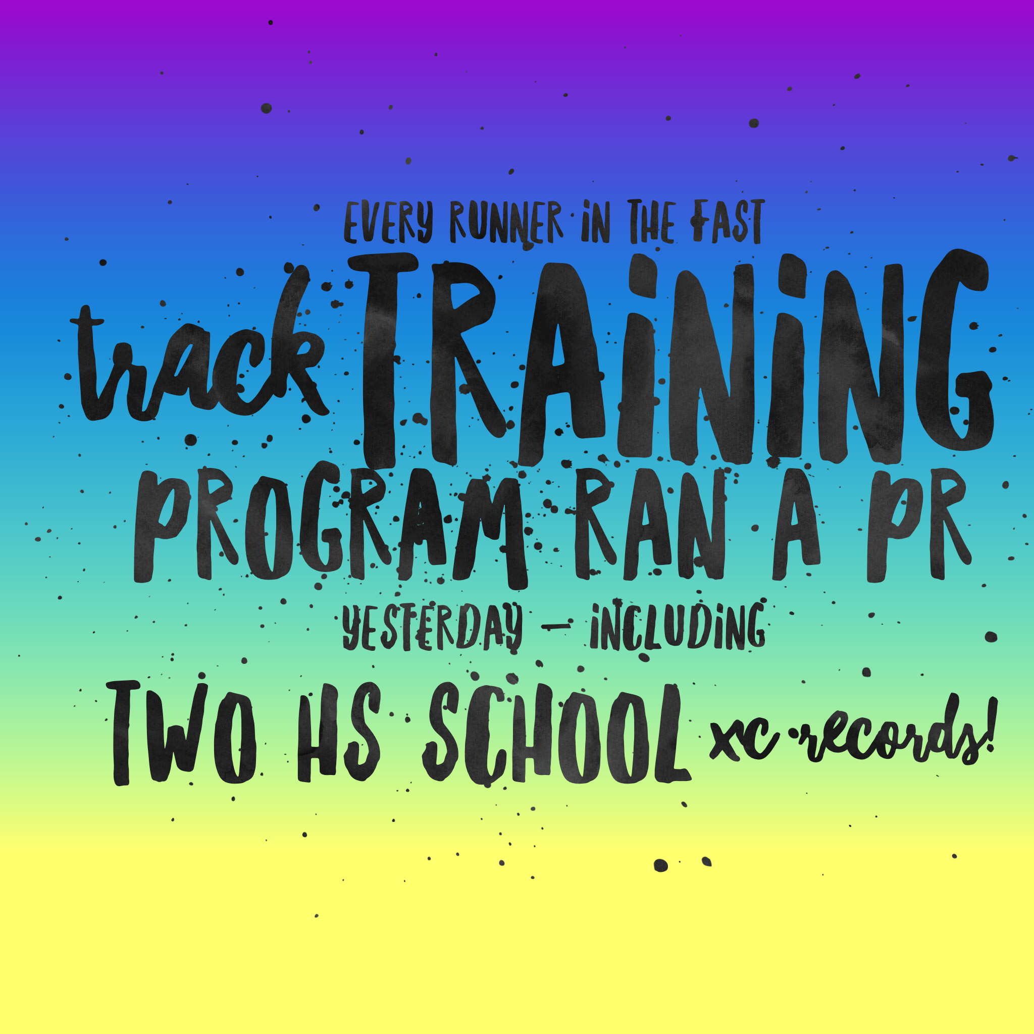 - Each and every participating athlete in the Fast Track Recruiting Training Program established a new personal record yesterday. The athletes who ran on the same course at the same meet yesterday as they did last year had an average improvement rate of 56 seconds! In addition, our athletes established two new varsity XC school records. Not only are we helping student-athletes get into schools they never thought possible while getting significant scholarship money, we are also helping current high school cross country runners RUN FASTER!