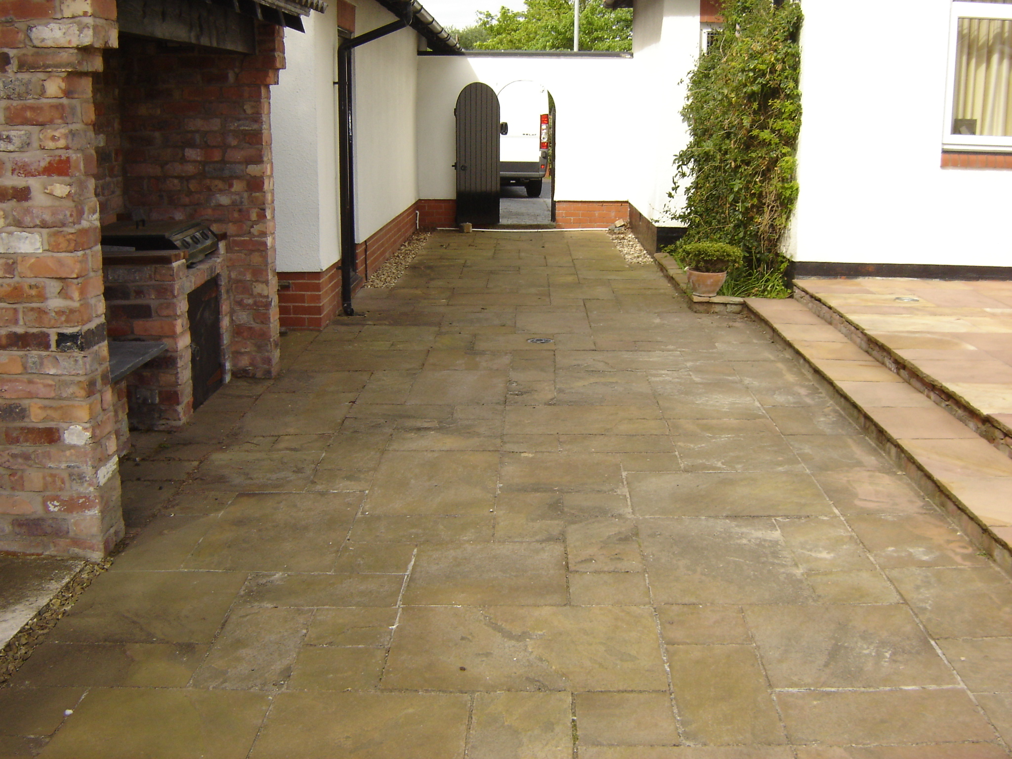 Indian Stone Patio before pressure washing