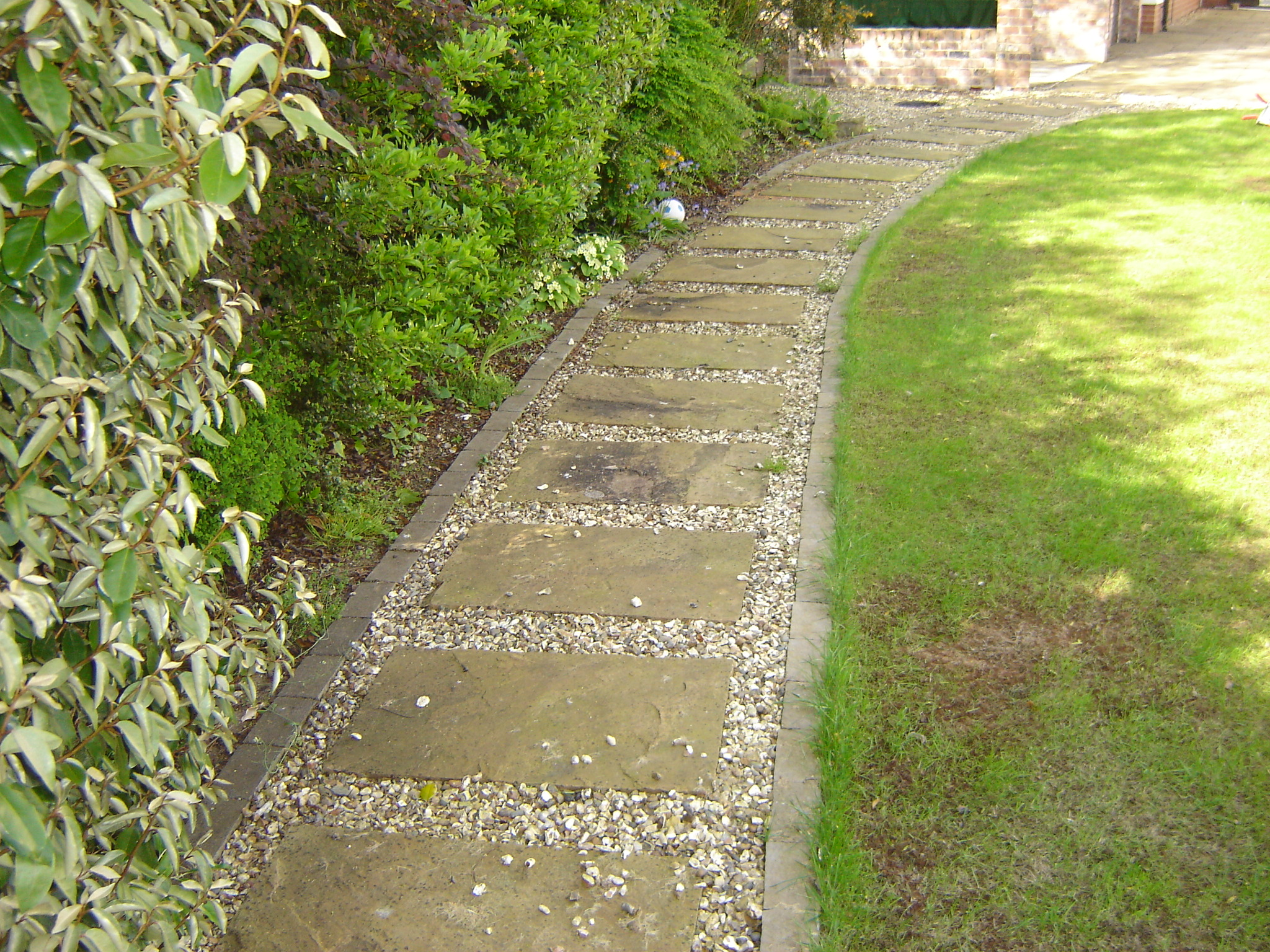 Yellow stepping stones before