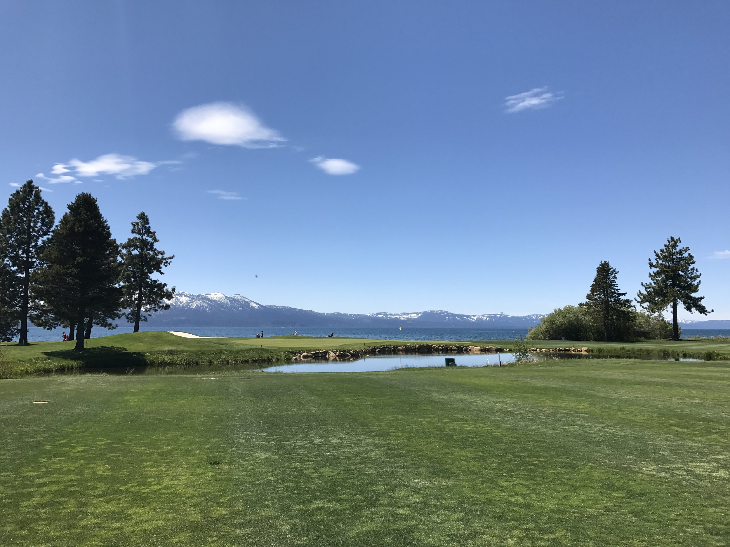View of #18 green and the lake.
