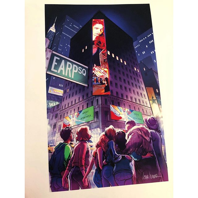 "My @earpexpo exclusive print: ""Earp Square""! Will be limited to 75 a day. The print is oversized at 14"" x 24"", on a matte artist paper, and will be sold for $60. Come to my table early— historically these sell out fast.  I wrestled with what to draw for my Earp Expo exclusive print. This one breaks the fourth wall but so does everything about #FightForWynonna. I wanted to capture this moment of the fans holding up the show and nothing has come to symbolize that more than ""Earp Square."" What a special fandom. I've been lucky to be a part of it, so this one is for you, Earpers.  #procreate #Earper #EarpSquare #womenincomics #womeninanimation #digitalpainting #WynonnaEarp"