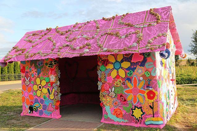 Worlds Change When Hands Meet  #crocheted #busstop #poland #publicart #streetart #communityproject #teamolek #oleknyc