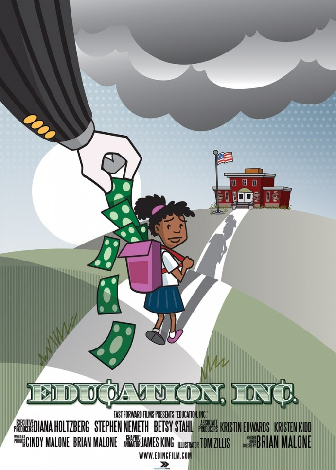 Education, Inc. - 2015, USA, 94 min, in EnglishCorporations, billionaires and free-market ideologues see dollar signs when they look at American public schools. Billions of tax dollars are being diverted away from public school children under the banner of 'school choice.' Dark money contributors are funding free-market reformers to take over local school boards and transform American public education into a business. Parents, teachers and students are fighting back across the country.