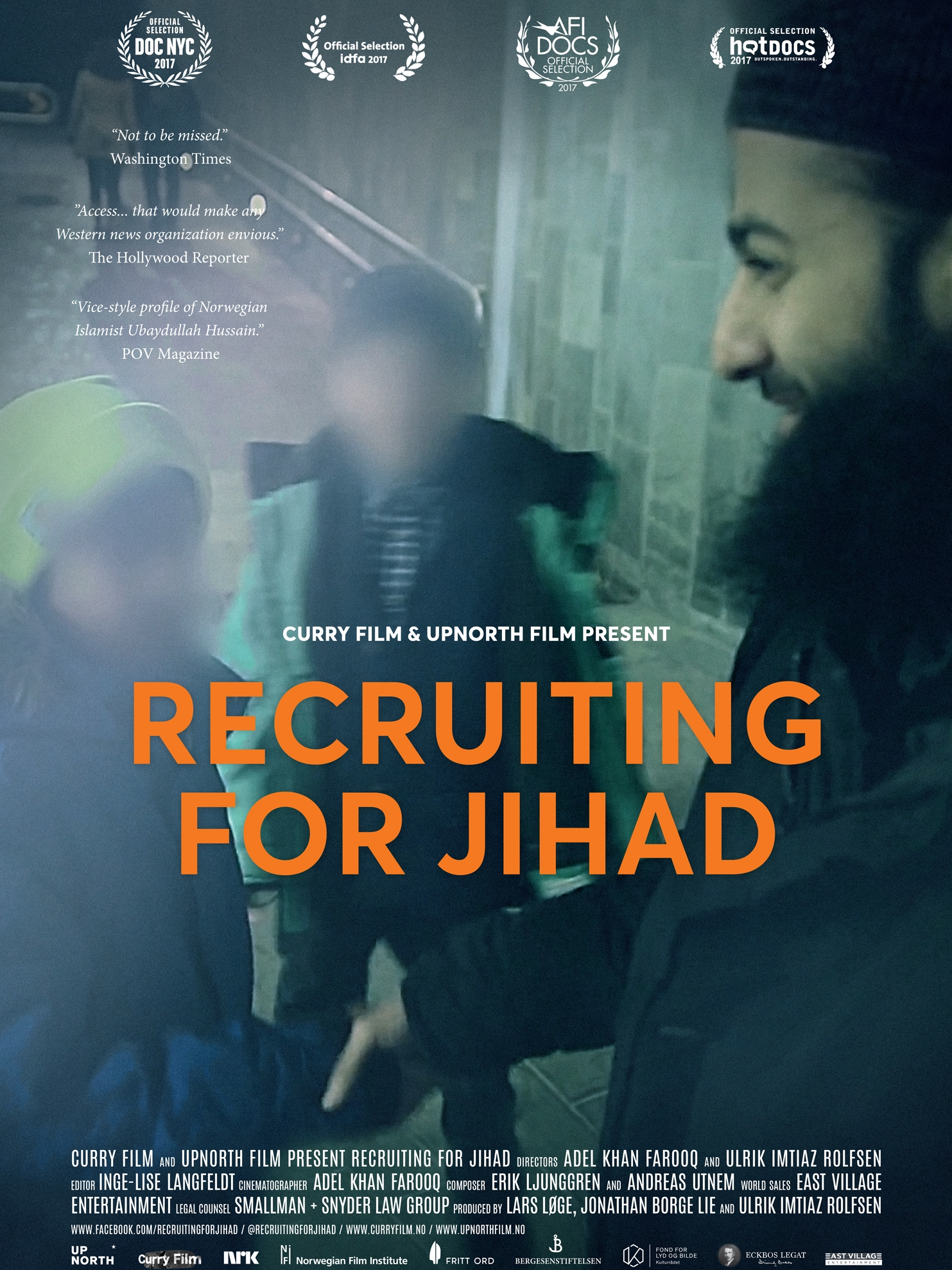 Recruiting for Jihad - 2017, Norway, 67 min + 79 min International version, in Norwegian + EnglishFor three years a well-known Norwegian extremist gives unique access to his everyday life encouraging jihadists in Europe until he is arrested for supporting terrorism by recruiting for ISIS. This extremely timely film highlights the tension between free societies and those who take advantage of their values while seeking to undermine them. Recruiting for Jihad is especially resonant and newsworthy given the deadly incidents in Paris, Stockholm, London, Berlin, Nice, Brussels, San Bernardino and elsewhere.