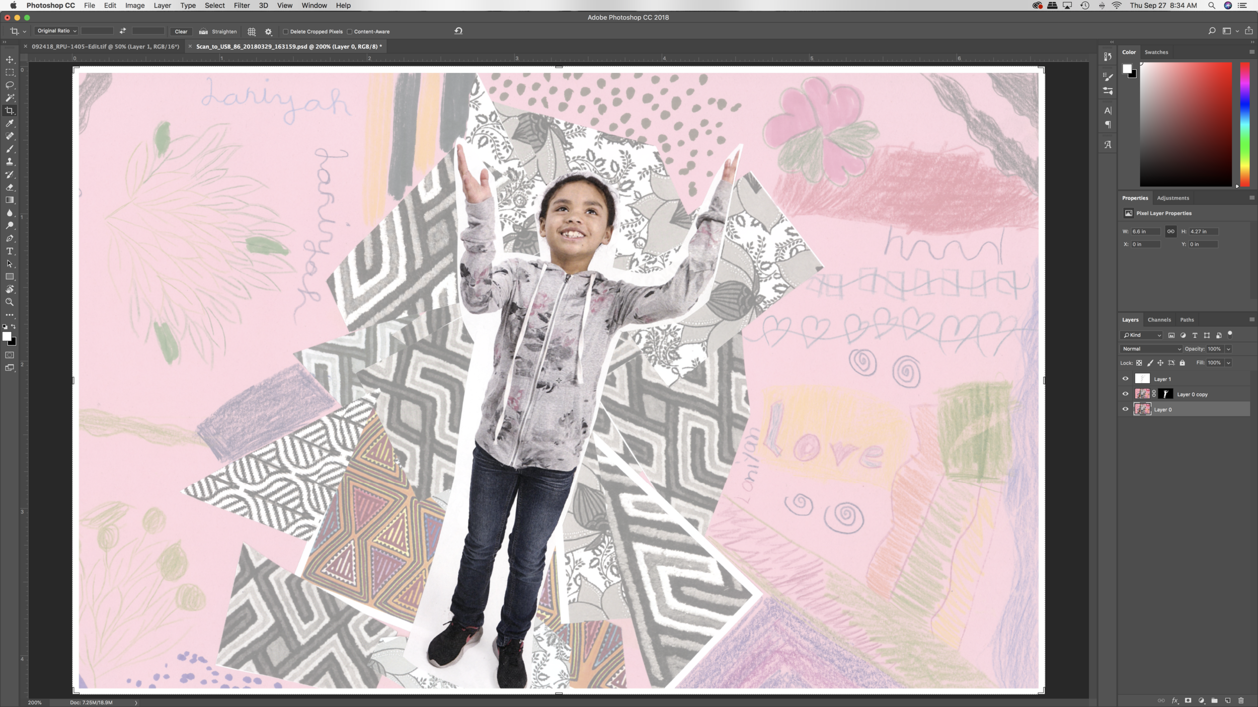 Image 7:  Mini-mural layers within photoshop with image masks.