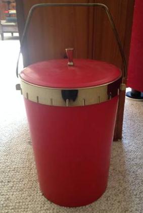 VINTAGE RED ICE BUCKET - $25