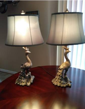 PAIR OF PEACOCK LAMPS - $50