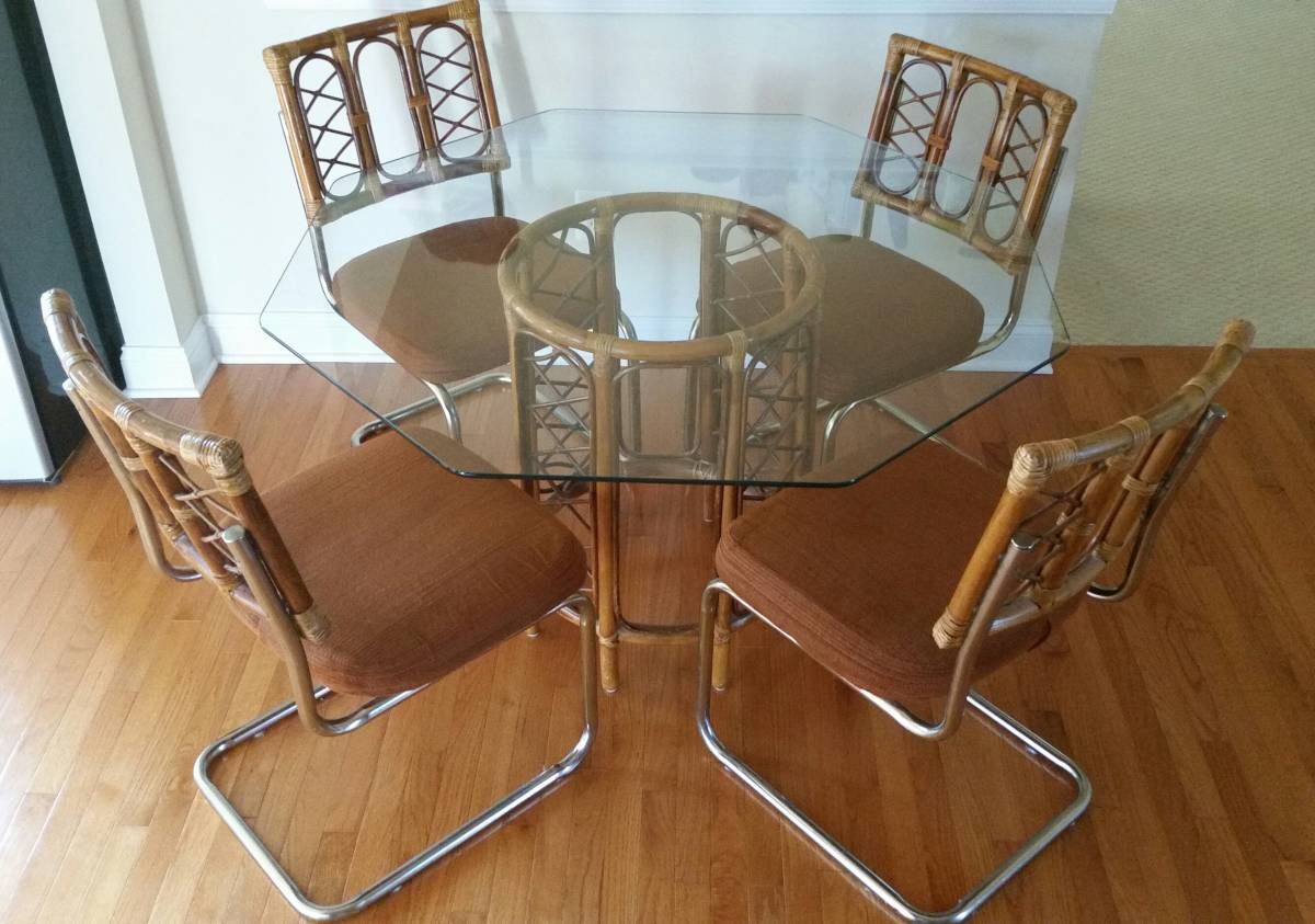 GLASS AND BAMBOO DINING TABLE - $50