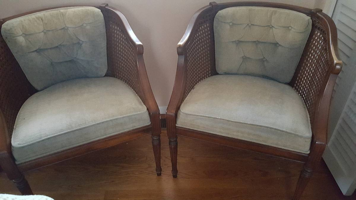 PAIR OF CANE SIDE CHAIRS - $100
