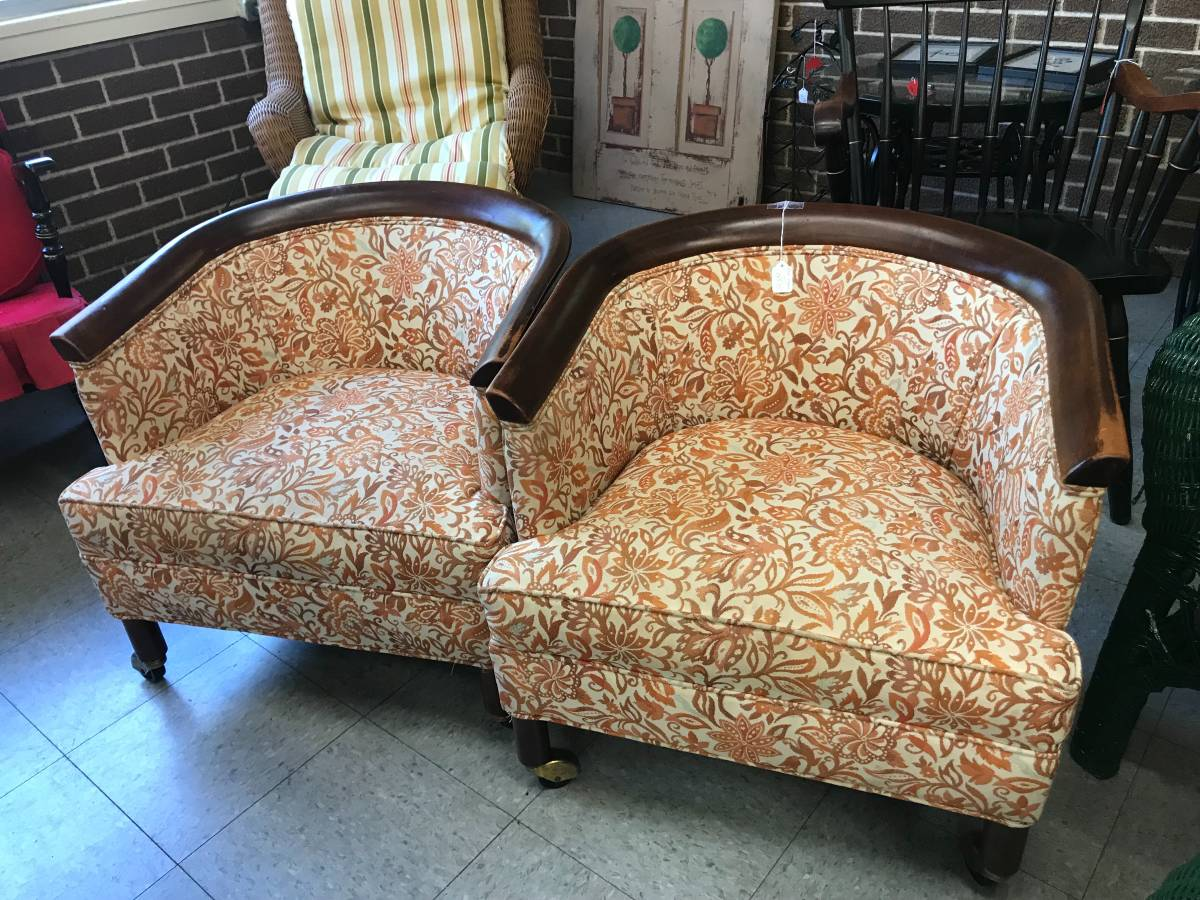 Pair of Barrel Chairs - $150