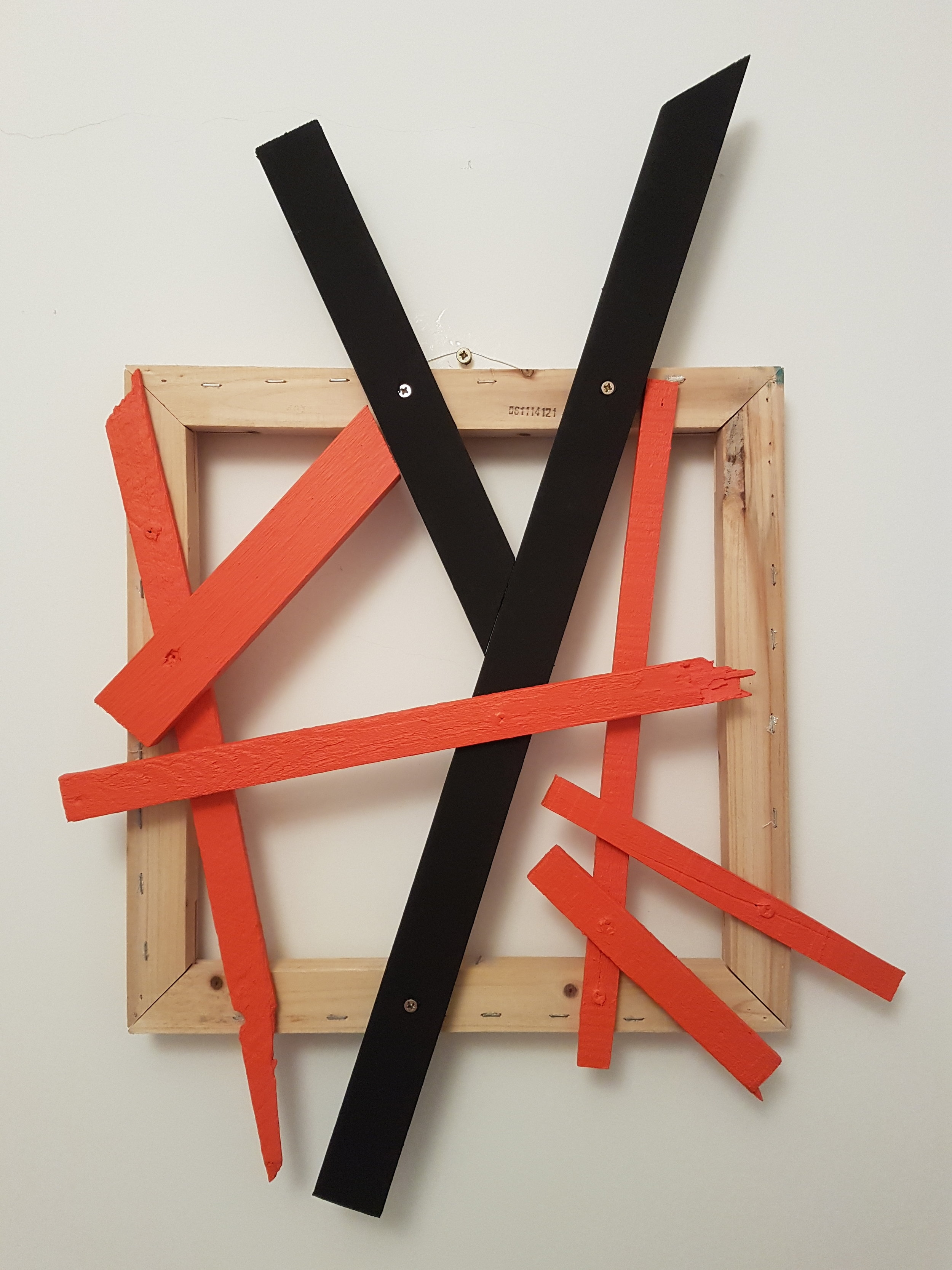 Cadmium and Black (2018): wood, acrylic and distemper