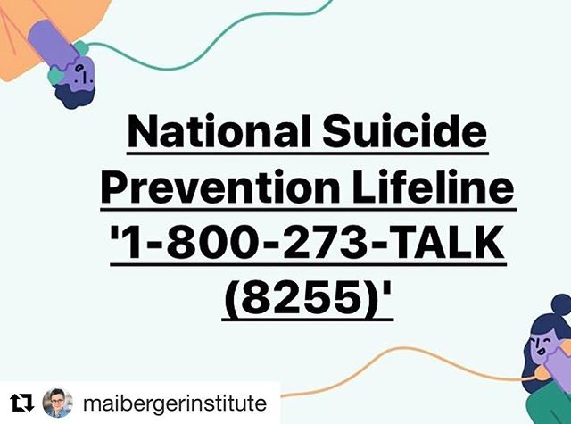 #Repost @maibergerinstitute ・・・ National Suicide Prevention Lifeline '1-800-273-TALK (8255)'