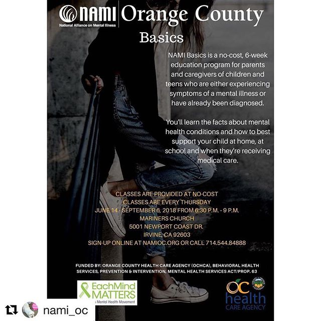 #Repost @nami_oc ・・・ Sign up today for Basics class starting June 14th at Mariners Church in Irvine. The NAMI Basics Education Program is appropriate for parents and family caregivers of children and teens (under the age of 18) who are experiencing symptoms of a mental illness or whom have already been diagnosed. Taught by two trained teachers, NAMI Orange County provides an intensive six-week program for families to teach them about mental health conditions and how to best support their child at home, school, and when they are getting medical care. Classes are no cost. http://www.namioc.org/programs/nami-basics/online-application  We still have seats available for our NAMI Basics class in Irvine! Call (714) 544-8488 to sign up! #basics #education #mentalhealth