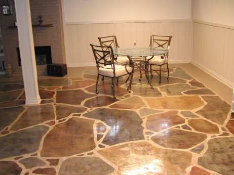 Acid-Stained Faux Finish Flagstone Design Basement Concrete Floor With Clear Water-Based Acrylic Sealer
