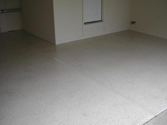 Concrete Garage Floor With Epoxy Color Flake And Urethane Sealer