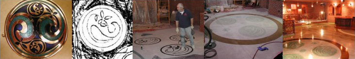 A chronological view of the concrete engraving process: 1) the jewelry case; 2) the starting artwork; 3) the transfer of the image to floor; 4) the concrete engraving & staining of that image; and 5) the final image after applying the protective clear sealer.