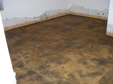 Rinsed and Neutralized, Acid-Stained, Finished Basement Concrete Floor With Saw-Cut Tile Design