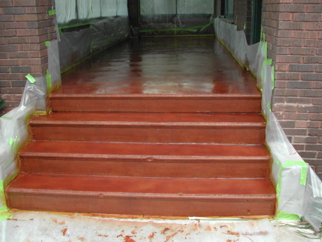 Enclosed Front Porch Concrete Floor After Applying Acrylic Concrete Stain And Clear Sealer