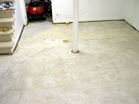 Basement Concrete Floor Ground Clean Of Black Cutback Tile Adhesive