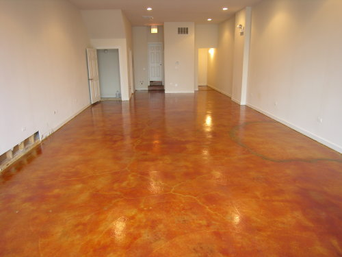 Amber Acid-Stained Concrete Floor of New Chicago Clothing Boutique