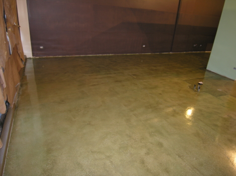 Green Acid-Stained Concrete Floor With Clear Sealer