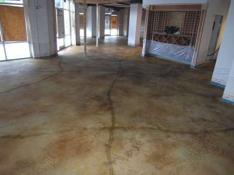 New Restaurant Concrete Floor After Rinsing of Excess Acid Stain Residue