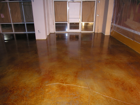 Acid-Stained New Restaurant Concrete Floor With Clear Sealer