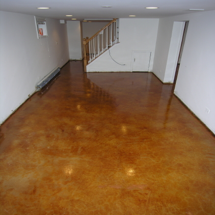 Finished Basement Acid-Stained Concrete Floor With Clear Acrylic Sealer And Clear Gloss Floor Finish