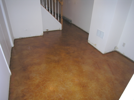 Finished Basement Acid-Stained Concrete Floor With Clear Acrylic Sealer