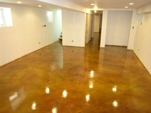 Finished Basement Acid-Stained Concrete Floor With Clear Gloss Sealer