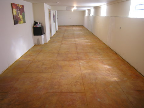 Finished Basement Concrete Floor After Saw-Cutting And Acid-Staining