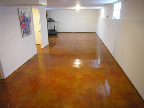 Acid-Stained Basement Concrete Floor With Saw-Cut Tile Pattern And Clear Sealer