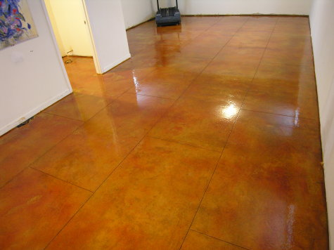 Acid-Stained Basement Concrete Floor With Saw-Cut Tile Pattern, Clear Sealer And Floor Finish