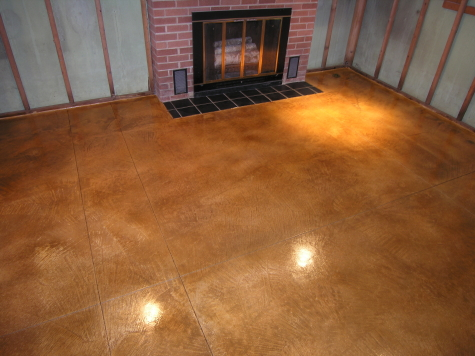 Acid-Stained Cement Overlay Of Basement Concrete Floor After Removing Black Cutback Tile Adhesive