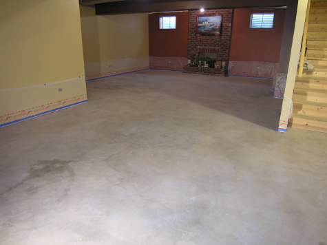 Finished Basement Concrete Floor After Cleaning And Before Acid-Staining