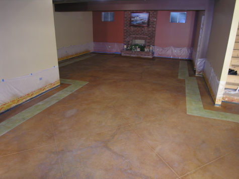 Acid-Stained Basement Concrete Floor With Colored Border And Saw-Cutting