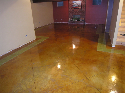 Acid-Stained Finished Basement Concrete Floor With Colored Border And Saw-Cut Tile Pattern