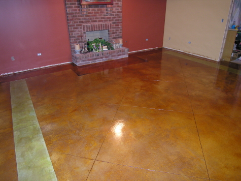 Acid-Stained, Finished Basement Concrete Floor With Colored Borders And Saw-Cut Tile Pattern