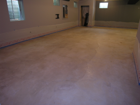 Finished Basement Large Concrete Floor After Cleaning And Before Acid-Staining