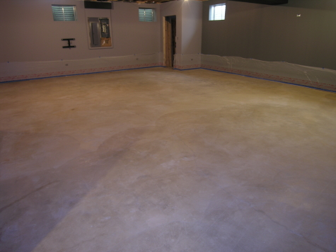 Finished Basement Large Concrete Floor After Cleaning Before Acid-Staining