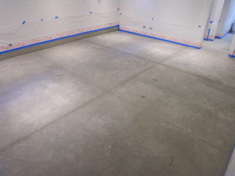 Remodeled Basement Small Concrete Floor After Cleaning Before Acid-Staining