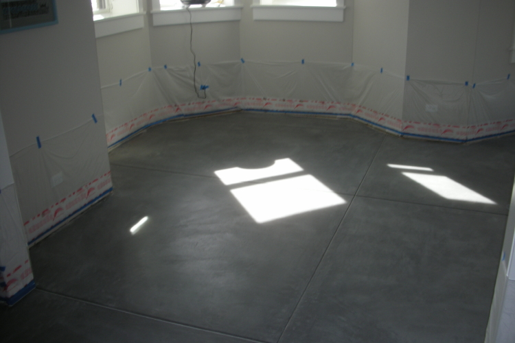 Finished Basement New Concrete Floor After Stripping Clear Sealer And Cleaning